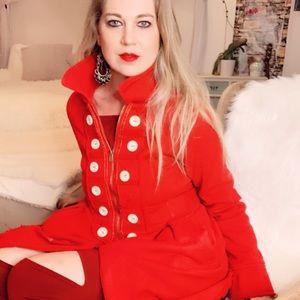 Red Peacoat Button Zip Coat Jacket Winter